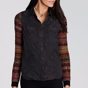 Free People Sweater Sleeve Button Down Shirt